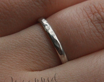 Silver Band Ring, 925 Sterling Silver Hammered Band, Adjustable Silver Ring, Any Size, Made to Order