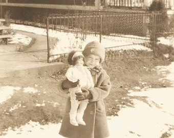 Vintage Photo - Little Girl With Her Doll - Snowy Day - Sepia Vintage Photo - Original Photo - Snapshot