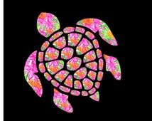 Lilly Pulitzer Inspired Sea Turtle Decal
