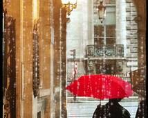 Paris Photography, Red Umbrella FIne Art Photography, Paris Art Print, Paris Street, Large Paris Wall Art Print