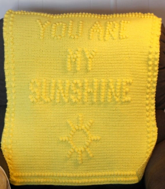 INSTANT DOWNLOAD You Are My Sunshine Crochet Baby Blanket