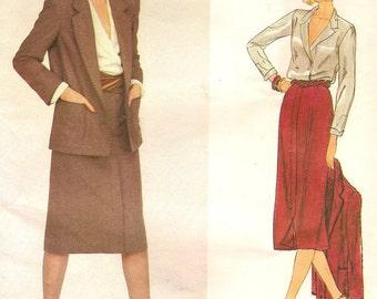 Calvin Klein Vogue Designer Jacket Skirt Blouse Sz 10 Pattern