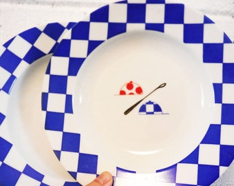Vintage jockey riding crop pair of salad bowls plates 1980's white blue checkered red and black equestrian horse racing