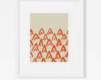 Minimalist Desert Art Print - Abstract Teepee Wall Art - Red Artwork - Vertical - 5x7, 8x10, 11x14, 16x20, 18x24 - Boys Room