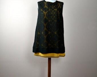 Black tunic dress, lace dress, black dress, party dress, winter dress, womens clothing, aline dress, black lace dress, 60s dress