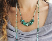 Gemstone Statement Necklace - Mixed Stone Necklace - May October December Birthstone - Emerald Necklace - Chunky Turquoise Necklace