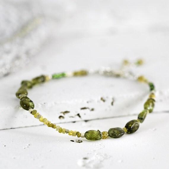 Yellow Diamond Bracelet - Skinny Peridot Bracelet
