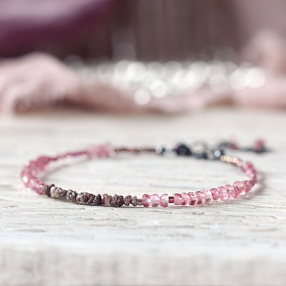 Pink Topaz Bracelet - Rough Diamond Bracelet