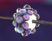 Carousel Handmade Lampworked Glass Bead OOAK Cream Purple Fuchsia Blue Clear Dots Rondelle Focal Lampwork