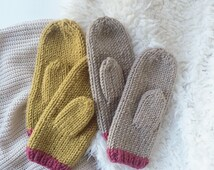 Wool Knit Mittens in Forest, Mustard, & Taupe / Warm Winter Knitted Colorful Mittens, Hand Warmers  / Wool Yarn