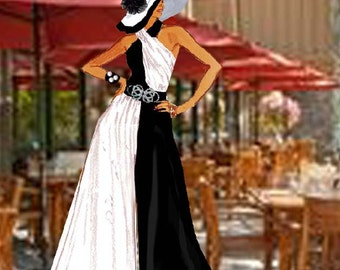 Crossover Neck Halter Black And White Jumpsuit Or Dress Extra Full Made To Measurement