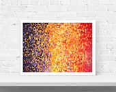 Fire - Purple, Orange, and Red Abstract Wall Art Print - Abstract Impressionist Fine Art Giclee Print in Purple, Orange and Red