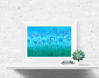 Blue Flowers Art Print - Turquoise & Green Abstract Flowers Fine Art Print by Louise Mead