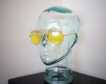 Vintage  YELLOW LENS Gonzo Hunter S Thompson Fear n Loathing Aviator Shooting Zentih Sunglasses With Case
