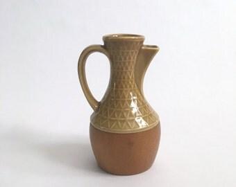 Vintage Mid Century Modern Studio Pottery Mini Pitcher with Wooden Base - Japan -