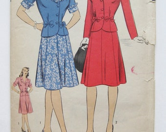 Vintage 40s Art Deco Hollywood Pattern 1392 Two Piece Skirt Sewing Pattern sz 16