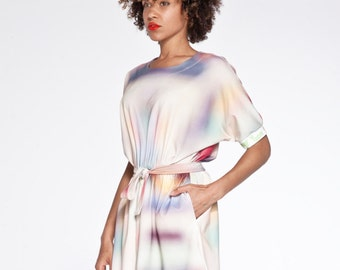 SWEET like ice-cream printed pastel organic cotton loose summer dress