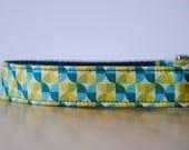 Buckle Dog Collar, Florence, green and blue semi-circles, size medium