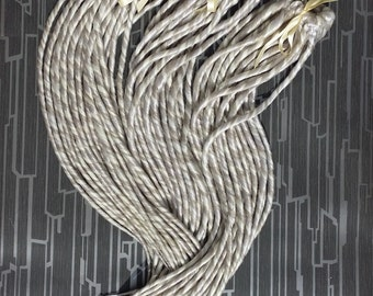 Natural Grey Silver Grey & Platinum Blonde Single Ended Dreads Up To 24 inches Long Made To Order