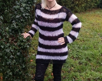 Lacy Openwork Mohair Sweater Dress Black & White Tim Burton Stripes Hand Knitted Made To Order Goth Visual Kei / Kera