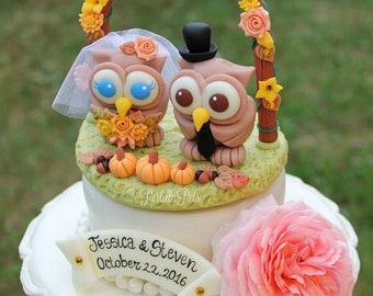Custom wedding cake topper, owl cake topper, love bird cake topper with floral arch and grass base, fall cake topper, wedding gift