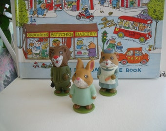 Vintage 1976 PLAYSCHOOL, Richard Scarry, Dr. Lion, Nurse Nelly Cat, Flossie Rabbit, Puzzletown figurines, Collectible