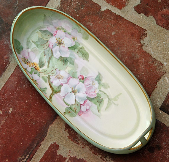 Antique Ca 1930-40s HC ROYAL BAVARIA Patent Applied For Hand Painted Wild Pink Roses & Gold Trimmed Oval Celery r Rolls Artist Sgnd Initials