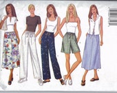Wide Leg Pants, Shorts, and Skirt Pattern - Sewing Pattern for Summer Clothes - Butterick 3031 Fast & Easy Pattern - Size 14, 16, 18 - Uncut