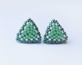 Triangle Studs - Geometric Beaded Jewellery - Greens and white
