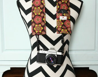 Camera Strap Cover- lens cap pocket and padding included- Brown, Pink and Green Medallions