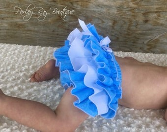 Beautiful Parley Ray Blue Baby Bloomers/ Ruffle Diaper Cover / Photo Prop