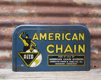 Vintage Metal Sign AMERICAN Chain & Cable Company Bridgeport Connecticut 1940s-1960s Era Industrial Metal Sign Blue Yellow Cut from Display