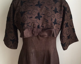 Vintage 1950s 60s Misses' Brown Short Sleeve Dress and Cropped Jacket by Mar Lee Original 6 8