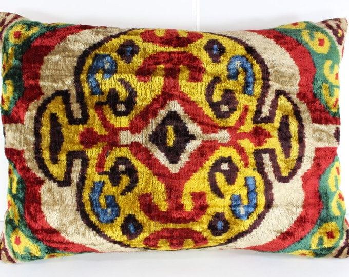 Silk Velvet Ikat Pillow Cover Lp319, Bohemian pillow, Velvet Ikat Pillow, Velvet Pillow