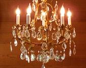 Vintage Chandelier Antique Italian Chandelier Golden Florentine Finish 5-Lights a Zillion Crystal Prisms Bravo!