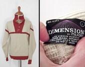 Shawl Collar Sweater 70s DIMENSION Milford Cream Rust Mens Med