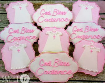 Custom Baby Baptism Sugar Cookies (Set of Six)