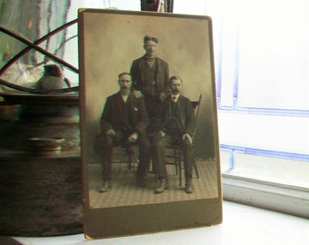 Victorian Father and Sons Cabinet Card Photograph Antique 1800s Photo