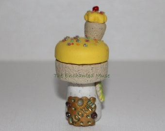HALF OFF SALE Deliciously Sweet YellowCupcake Fairy House