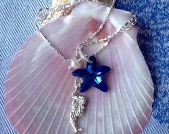 Mermaid Necklace Swarovski Starfish Pearl on Diamond Cut Sterling Necklace, Deep Ocean Blue Starfish Crystal, Beachy, Nautical, Sealife