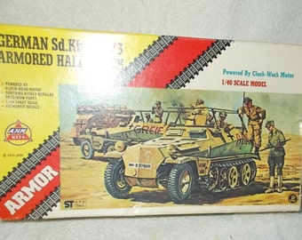 Vintage Model German Armored Half Track 1/40 Scale Model Complete In Original Box AHM Military Armor Model