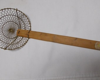 Vintage fishing net etsy for Ice fishing scoop