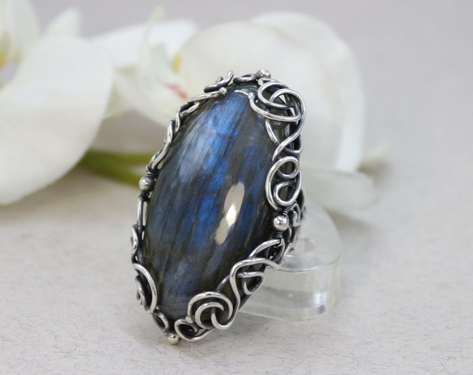 Antique Ring Labradorite Ring Art Deco Ring Size 9.5 , Antique Silver Ring Labradorite Jewelry Antique Jewelry Blue stone big stone ring