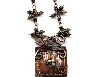 Birdhouse Necklace Crafted from Copper, Amazonite, and Moss Agate