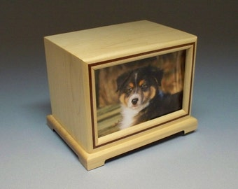 90 c.i.- Maple and Bubinga Inlay Pet Photo Urn  with Lacquer Finish