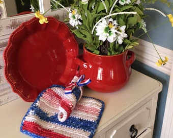 Crochet Kitchen Dishcloths Cotton - Set of 2 Red White Blue - Patriotic Decor - Labor Day Decor
