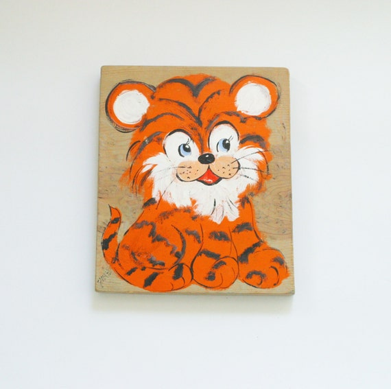 Vintage Baby Wall Decor : Vintage baby tiger wall plaque nursery decor