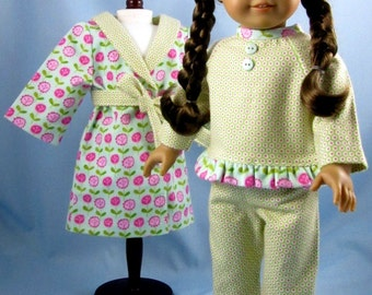 18 Inch Doll Clothes -  Flannel Pajama and Robe Set - American Girl - Green Pink and Aqua - Doll Pajamas