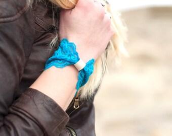 Lace Bow Cuff Bracelet, Wide Cuff, Teal Blue Bowtie Vegan Leather Womens Blue Womens Gift, Turquoise Bracelet Wrist Bracelet Tattoo Covers