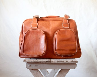 Vintage 70's Oversized Leather Duffle Bag